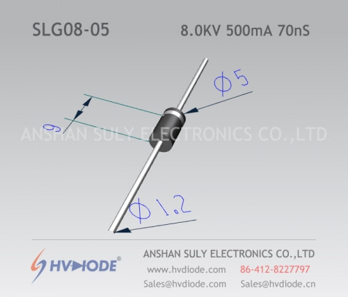 Genuine SLG08-05 high frequency high voltage diode 8KV500mA70nS ultra fast recovery HVDIODE manufacturer