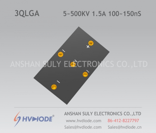 Military quality high voltage three phase bridge 3QLG5 ~ 500KV / 1.5A high frequency 100 ~ 150nS response produced by HVDIODE manufacturers