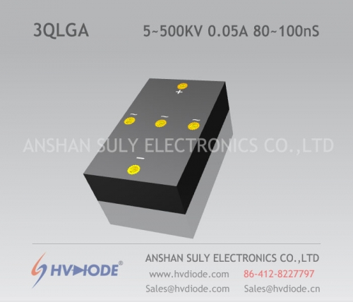 Military-quality high-frequency 80 ~ 100nS high-voltage three-phase bridge 3QLG5 ~ 500KV / 0.05A high temperature chip HVDIODE manufacturers